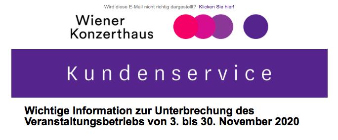 Absage der Konzerte im Wiener Konzerthaus